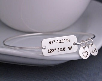 Latitude Longitude Bracelet, Personalized Wife Gift, Custom Coordinates Jewelry, Silver Bangle Bracelet