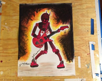 Guitar Playing Robot Devil Hand Embellished Mixed Media Original Art 18 x 24 Inches