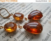 SALE Emergence~ citrine statement earrings, anna wintour, vintage citrine earrings.