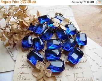 "ON SALE sapphire statement necklace, collet, Anna Wintour necklace, art deco necklace, blue statement necklace, Sacred Cake.  ""Bristol Blue"""