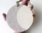 soft pearl grey starry moon ceramic handmade plaque