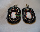 Native American Style applique beaded Dentillium shell earrings in black and fire colors