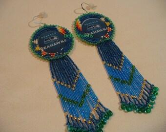 Native American Style Rosette beaded Seahawk earrings