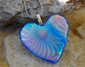 Blue Dichroic Heart Pendant, Valentine Pendant,  Blue Dichroic Pendant, Silk and Satin Glass Necklace, Fused Glass Necklace, Glass Slide