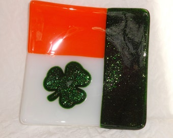 Irish Flag Plate, Ireland, Luck, Shamrock Plate, St Patricks Day Dish, Glass Candy Dish, Pillar Candle Holder, Trinket Tray, Spoon Rest