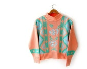 sale vintage novelty sweater / vintage 1980s jumper / tribal pattern w roses / cropped / bright pastels mint green pink powder blue