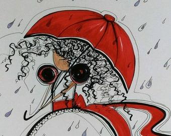 Red Umbrella 14x17 Original