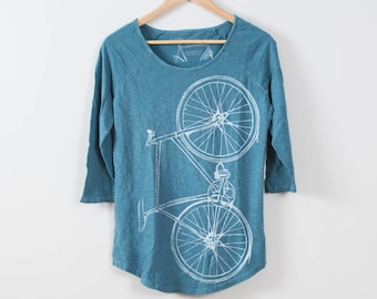 Women's Minor League Fixie Baseball Tee, Peacock Blue- Small