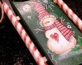 Painted Snowman Sled with  Candy Cane Rails