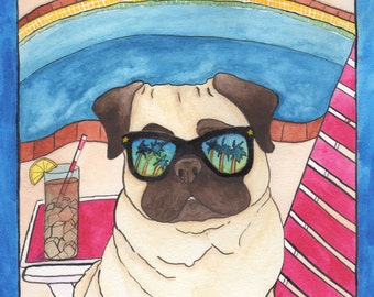 Palm Springs Pug Original Dog Art, Funny Animal Art, Watercolor Dog Painting,Dog Lover Gift Artwork,Quirky Art,Colorful Folk Kitsch Wall Art