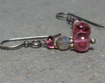 Pink Tourmaline Earrings Labradorite Earrings Oxidized Sterling Silver Earrings