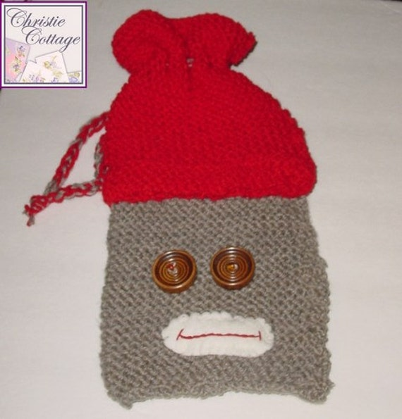 Sock Monkey Pouch for your eReader - Knit - Cozie