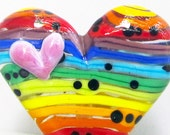 Rainbow Hearty Heart--Handmade Lampwork Glass Bead