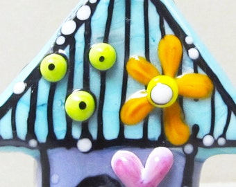 Tiny House--Handmade Lampwork Glass Bead