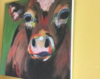ON SALE cow fine art print on canvas
