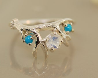 Antler Ring 2 with three stones,moonstone ring, twig ring, alternative engagement,
