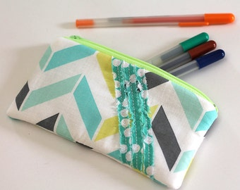 Yellow, lime Green ruffled pouch. gray and aqua padded wallet, zipper pouch. Journal bible supplies pencil bag. cash envelope -Ready to ship