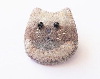 Felt Brooch - Barney - The Grey Kitten - Accessory - Pin - Gift Idea For Cat Lovers
