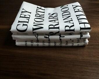3 screen printed dish towels- you choose designs - Jane Austen