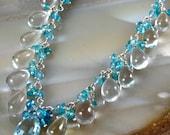 FINAL SALE - Swiss Blue Topaz Rock Crystal Apatite Sterling Silver Cluster Necklace