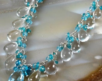 Swiss Blue Topaz Rock Crystal Apatite Sterling Silver Cluster Necklace