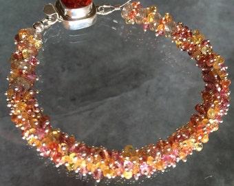 Reserved Listing - Sapphire & Oregon sunstone Bracelet