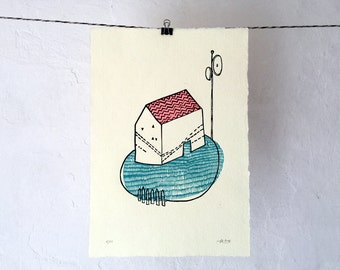 Dream House - Original Linocut Print - LIMITED EDITION of 17 - 21x29 cm