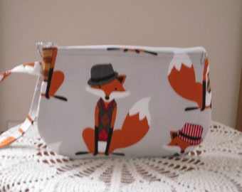 Fox Wristlet Zipper Gadget Purse Pouch Dapper Foxes