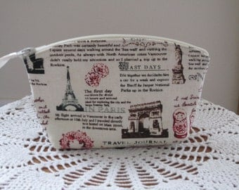 Antiquebasketlady Cosmetic Bag Clutch Zipper Purse Travel Journal Made in the USA Essential oils case