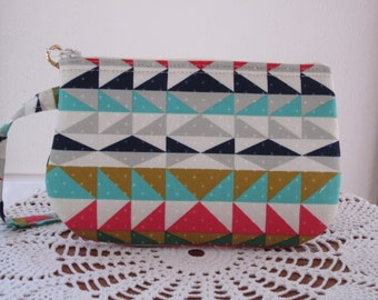 Geometric, Indian, Mesa Overlook, Serape Clutch, Wristlet, Zipper Gadget Pouch, Smart Phone Bag