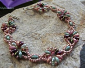 Rose, greens and pinks beaded bracelet, floral, antique rose mix, raspberry seed beads, colourful