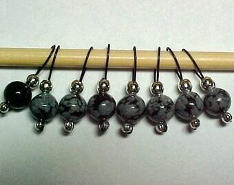Snowflake Obsidian and Black Onyx Gemstone Stitch Markers -   US 5 - Item No. 621