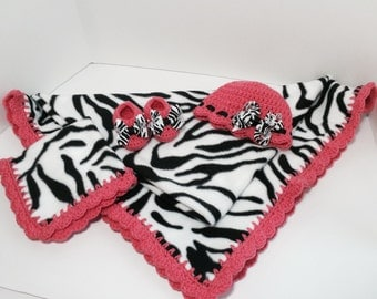 Zebra Print Crochet Trim Fleece Baby Blanket with Matching Hat, Bow, Booties and Lovey. Ready to ship.