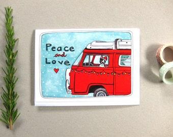 SALE - Holiday Card - Christmas Card - Boston Terrier Christmas Card - Hippie Christmas Card - Dog Christmas Card - Peace and Love