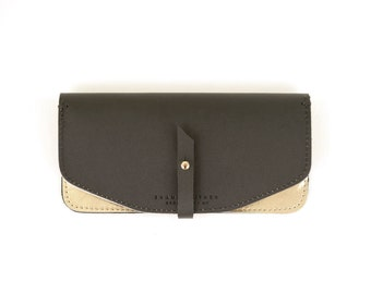 Leather Wallet- Black/Gold