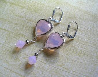 Rose Water Opal Pink Heart Earrings Swarovski Crystal Silver Plate Leverback Hooks Wire Wrapped Delicate Pink Opal Silver Earrings