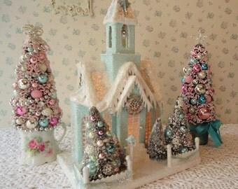 XL AQUA blue Putz style Lighted House w/ Bottle Brush Trees - Shabby n Chic