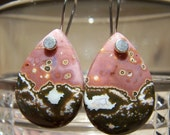 Ocean Jasper briolette, sterling silver nailhead earwire