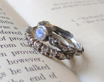 SALE Bridal Set One of a kind Rainbow Moonstone Branch Wedding Ring Set in Sterling Silver Twig Wedding rings
