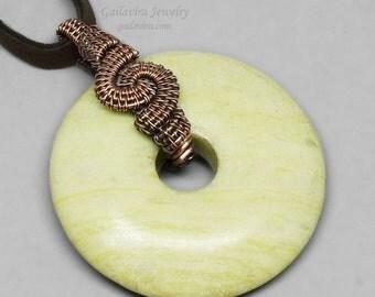 Summer Sale - 30% off - Copper and Peridot Jasper Donut Pendant Necklace