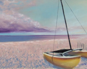 Catamaran on the beach NW Florida 30A original pastel painting