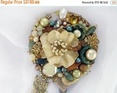 Half Off Sale Hand Mirror - Cottage Chic Floral - Repurposed Jewelry - M000739