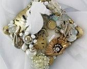 Half Off Sale Hand Mirror - Seahorse Frolic - Repurposed Jewelry - M000893