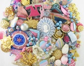 20% OFF - Craft Jewelry - Over 1 Pound - Multiple Projects - Pink and Blue Romance