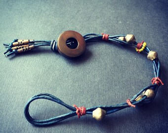 Leather Bracelet with Button clasp