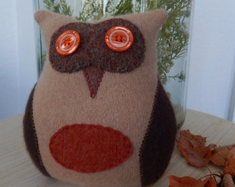 Recycled Cashmere Owl Tooth Fairy Pillow -   Brown and Orange