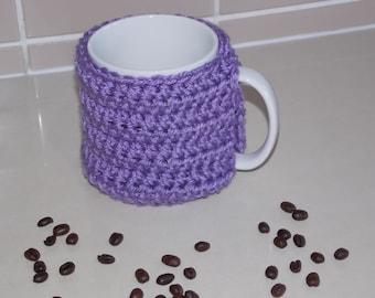 crocheted coffee cuff mug cup cozy cover lilac lavender purple