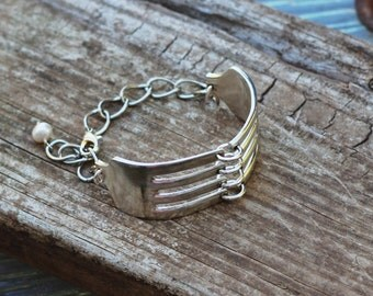 Fork Bracelet, Vintage Wedding Ideas, Adjustable, Silver Flatware