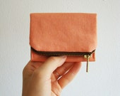 Coral Forester card wallet with brown lining