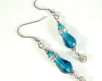 Teal Earrings Blue Zircon Swarovski Crystals, Glass Clear CZ Crystal Sterling Silver or Steel Wires